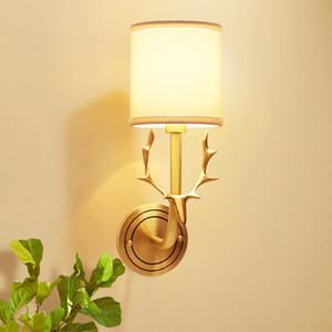 Modern Antlers Copper Luzes LED de parede Iluminação Tecido abajur de cabeceira quarto Sconce Lamp Decor Corredor interior levou lâmpada de parede