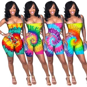 Sexy Multicolored Tie-Farbstoff Druck Playsuits Sommer trägerlosen Overall Shorts Lace up Backless Sleeveless Stretchy Diskothek Jumpsuits