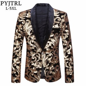 Pyjtrl Men Shawl Lapel Blazer Designs Plus Size 5xl Black Velvet Gold Flowers Sequins Suit Jacket Dj Club Stage Singer Clothes MX190725