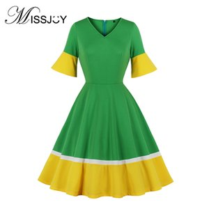 MISSJOY Woman Dress With Short Sleeves 2020 Summer A-Line Knee-Length Patchwork Vintage Elegant Party Ladies Casual Green Yellow