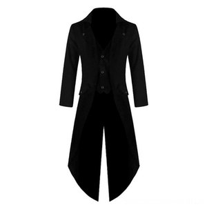 Men Vintage Suit Jacket Long Men's Suits & Blazers Men's Clothing Tuxedo Vintage Steampunk Retro Tailcoat Single Breasted Gothic Victorian F