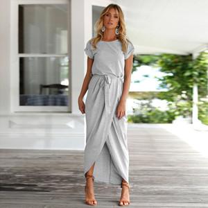 Yeni Kadın Modası Katı Renk Elbise Karışık Pamuk Kısa kollu Yuvarlak Yaka Düzensiz Günlük Elbise Kemer S-XL