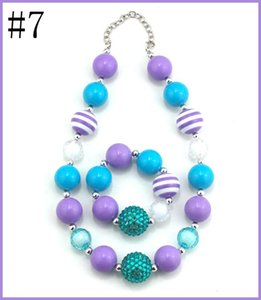 free shipping 60set Baby Necklace Baby Girl Bead bracelet Children Necklace Girl Chunky Jewelry Little