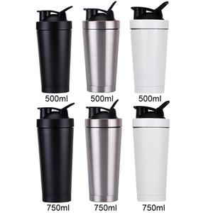 La proteína 550ml del metal del acero inoxidable de la botella de agua botella de deportes Shaker Copa Licuadora mezclador con fugas tapa a prueba de envío