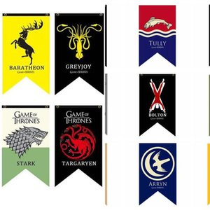 18 Styles 75 * 125cm Game Of Thrones Flags Garden Flag Diy Liene Yard Dekorative Hängen Hauptdekoration Bannerwerbung Fahnen 15pcs