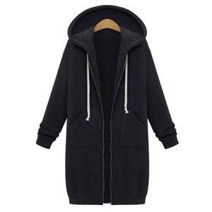 2018 Autumn Plus Size Womens Cardigan 긴 Hoodies Sweatshirt Hoody Coat Pocket Zip Zip Out 겉 옷 Hoodies 옷 대 한 Women 대형 탑