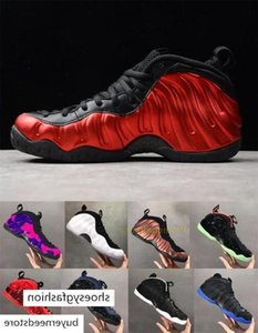 With Box Penny Hardaway Foams One Olympic Denim Basketball Shoes Pro Eggplant Black Metallic Gold Mens Sneakers Sports