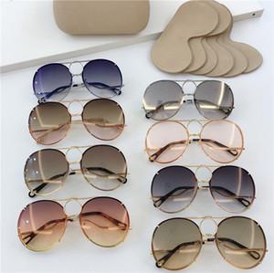 Novo designer de moda óculos de sol das mulheres 145 quadro de metal piloto lentes intercambiáveis avant-garde estilo popular uv 400 óculos de proteção