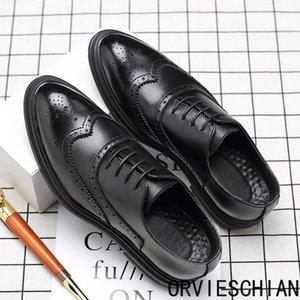 Designer autumn Brock men'sKorean British fashion shoes casual business leather shoes men's pointed black small leathe