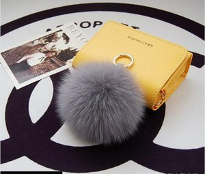 Real Fox Fur Ball Keychain 8cm Pompom Fluffy Fur Pom Pom Soft Keyring Key Chains Key holder Women Bag Pendant