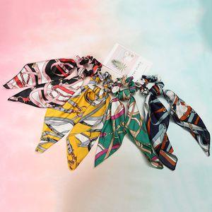 Anillo de pelo bufanda de seda retro serpentinas arco floral scrunchies heabands bufanda bandas elásticas del pelo titular de cola de caballo accesorios para el cabello