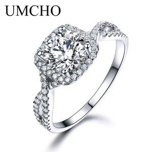 Umcho luxo de noiva cúbicos Anéis Zircon Para Mulheres real de Prata 925 Jóias Wedding Party Engagement Solitaire Marca Fine Jewelry J190706