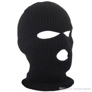 Designer Beanie Balaclava Hat Para Mens Womens Ciclismo Esquiar Máscara Facial Três 3 Revestimento de buracos Caps malha Adultos Acrílico
