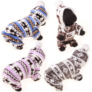 Christmas Autumn Winter Dog Clothes Pet Clothes Dog Pajama Cute Soft Coral Fleece Print With Hat Puppy Teddy Sleepwear Coat