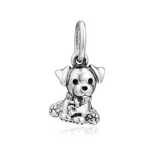 New autêntica jóia de 925 Sterling Prata Charme filhote de cachorro esmalte preto Labrador com osso Pendant Bead Fit Mulheres europeu Bracelet Bangle Diy