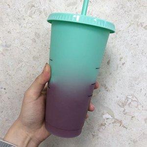 Sıcaklık Değişimi Renk Plastik Bardak 700 ML 24 oz Renkli Soğuk Su Renk Değiştirme Kahve Fincanı Kupa Su Şişeleri Ile Saman DBC VT0514