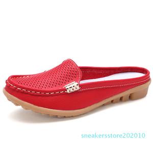 BeckyWalk été fermé Toe talon en cuir véritable plat Sandales Chaussons Chaussures Mode Femme Découpes WSH2680 de s10