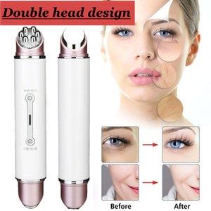 Doble la cabeza RFEMS Radio mesoterapia electroporación belleza de la cara de la pluma de frecuencia LED fotón cara rejuvenecimiento de la piel removedor de arrugas