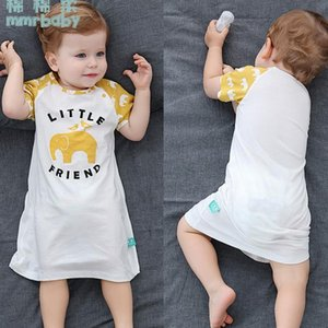 WQ Childrens Nightgown Summer Baby Pajamas Short Sleeve Baby Nightdress Childrens Air Conditioning Clothes Thin Boys and Womens Cotton Summe
