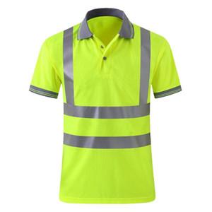 Mens alta visibilidade reflexiva segurança do trabalho Camisas Polos Fluorescent Yellow Reflective Tape Tops respirável Equitação Tráfego Masculino
