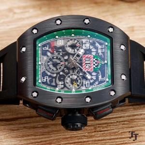 2019 moda R-M mens relógio preto caso excelente qualidade homens relógios automáticos auto-liquidação movimento varrendo relógio pulseira de borracha