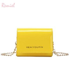 Designer- 2019 Fashion New Ladies Small Borsa quadrata qualità lucida pelle borsa donna borse mini catena spalla borse a tracolla