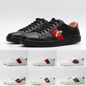 Leather Triple Black White Italia Ace Designer Scarpe Uomo donne di lusso Casual Shoes Vintage banda della stella del serpente Bee Sneakers formatori piattaforma