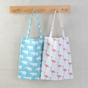 북극곰 타조 빈티지 디자이너 쇼핑 가방 대용량 코튼 리넨 비치 가방 여성 어깨 가방 재사용 식료품 가방 WX9-1307