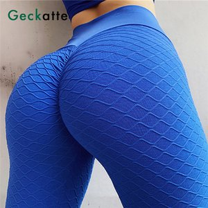 Geckatte blue high waist push up yoga pants woman seamless gym clothing sport fitness leggings for women 2020 activewear mujer Y200529