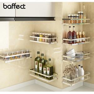 Baffect جدار الجرف خزائن المطبخ غير القابل للصدأ لكمة الحرة الصلب التوابل الرف رفوف المطبخ الحمام لتخزين 6 الحجم SH190918