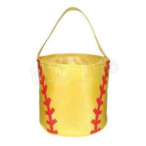 Easter Basket Sport Toile Football Basket Base-ball de football sac Softball seau de stockage enfants bonbons panier sac 100PCS AAA1879-14