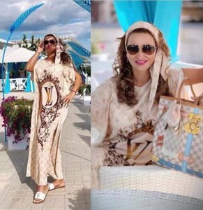 Büyük boy Euramerican Moda Tasarımı elegent zenci kadın elbise Seksi gevşek Maxi elbise gündelik parti elbise Yarasa Kol Elbise baskı