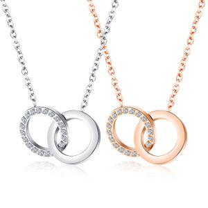 2020 z1557new serie Sen populares de joyería de moda colgante de titanio de acero de doble anillo Rose círculo del diamante del oro collar de cadena mujeres clavícula