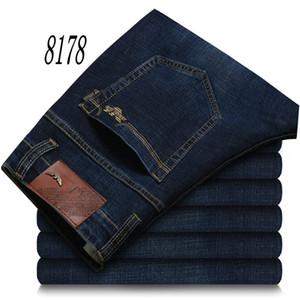 8178 AJ-JEANS AutumnSpring externas calças grossas pant calças masculinas jeans stretch de algodão calças calças lavadas business casual reta