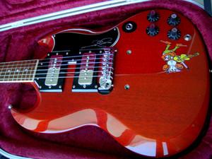 1964 1965 Hard Rock Black Sabbath Tony Iommi Legendary Cheery Red SG Affe E-Gitarre Schwarz P 90 Signed Pickups, Wrap-Around-Brücke
