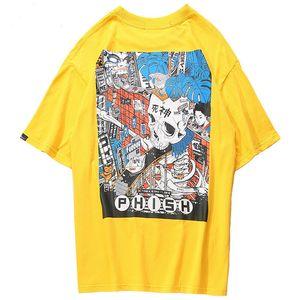 Januarysnow 2019 Men Harajuku T-Shirt Cartoon Skull Assembly Line T-Shirt Estilo Japonês Streetwear Camiseta De Verão Gigante T-Shirts De Algodão