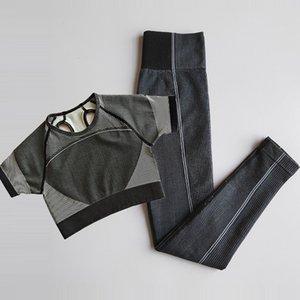 Ultra Seamless Gym Set Women Fitness Clothing Workout Sportswear Yoga Leggings Short Sleeve Crop Top Shirts 2Pcs Sports Suits