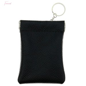 Cowhide Genuine Leather Coin Purse Women Men Small Key Ring Wallet Money Change Bag Business Credit Card Holder Pouch