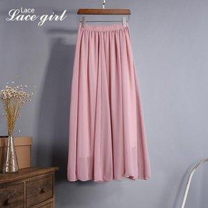 Chiffon de meio corpo saia de verão Posimi Segundo Longuette High Color uma linha-saia plissada Para limpar o chão Sandy Beach Skirt