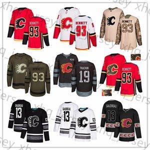 Flames de Calgary sur mesure Jersey 13 Johnny Gaudreau 19 Matthew Tkachuk 11 Mikael Backlund 93 Sam Bennett Etats-Unis Drapeau Hommes chandails de hockey