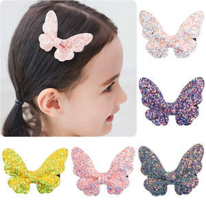 Menina Sequins bowknot Hairpin bebê Barrettes Crianças Headwear Colorful Clipe Hairpin Side Multicolor brilhante Pó Pano 28