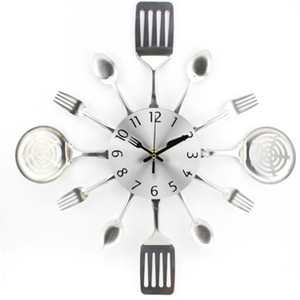 Children Bedroom Modern Wall Clock Cute 3D Unique Silent Bedroom Utensils Silver Forks Spoons Spatulas Wall Clock Gift l