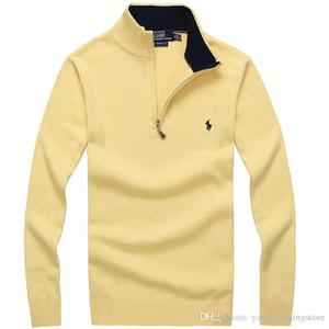 Sıcak satış sonbahar ve kış erkek rahat standı yaka uzun kollu kazak moda rahat gevşek yarım fermuar kazak 13 renkler