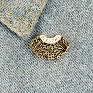 Dissent Spillette personalizzate Spille camicia nera con revers Borsa Ruth Bader Ginsburg Distintivo Femminile Giustizia RBG gioielli regalo.
