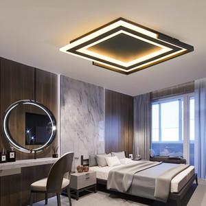 Yeni Kare Led Avize Diameter400 / 520mm Siyah / Beyaz Kaplama Modern oturma odası Yatak Odası Master Odası için avizeler açtı