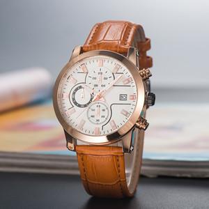 2020 Nova MONTBL Marca Seis séries agulha de alta qualidade dos homens Relógio de luxo Quartz pequena agulha run segundos de couro cinto de moda relógio