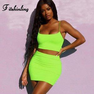 Fitshinling Hot Neon zweiteilige Set Sommerkleidung für Frauen camis Röcke Outfits Anzüge Fluoreszenz sexy dünne dünne Straße Sätze