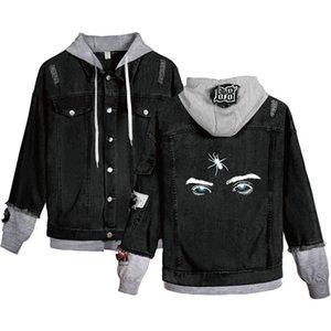 Patrón de la moda-Eyes Impreso agujero con paneles solo pecho chaqueta de Jean de los hombres de manga larga con capucha de la chaqueta Pareja Ropa