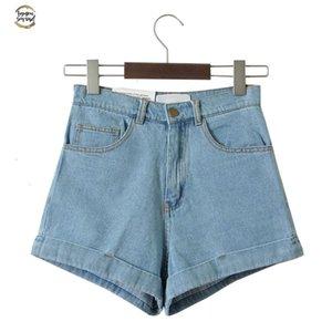 Denim Shorts Twill femmes taille haute finition ourlet roulé Denim Shorts Sexy Girls Jeans Shorts Cuff Plus Size Filles Street Wear C3627
