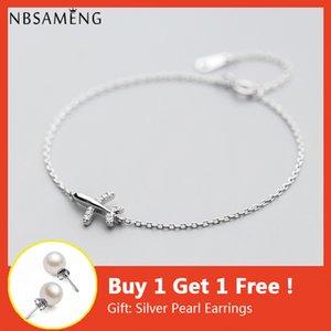 NBSAMENG 925 Bracelet en argent sterling cristal avion avion avion Bracelets Bangles réglable pour les femmes Bijoux cadeau